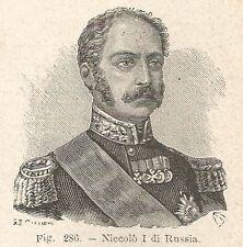B1471 Niccolò I di Russia - Incisione antica del 1928 - Engraving