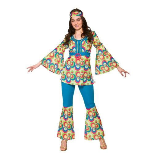 Ladies Womens Hippie Hippy Fancy Dress Costume 60s 70s Groovy Flower Power Outfi