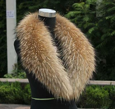 Real raccoon fur collar genuine raccoon scarf shawl Wrap length 80 cm