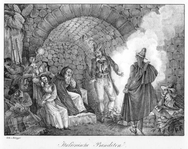 Italien, italienische Banditen, Briganten, Original-Lithographie von 1829