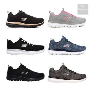 Dettagli su Scarpe da Donna Skechers Memory Foam Sneakers Sport Nero Bianco Grigio Fuxia Blu