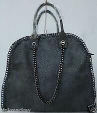 Henkeltasche Damen Tasche Tote Bag Design XL Handtasche grau chain Kette  NEU