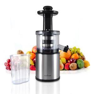 NutriChef PKSJ30 200 Watt Kitchen Vegetable Fruit Countertop Slow Juicer