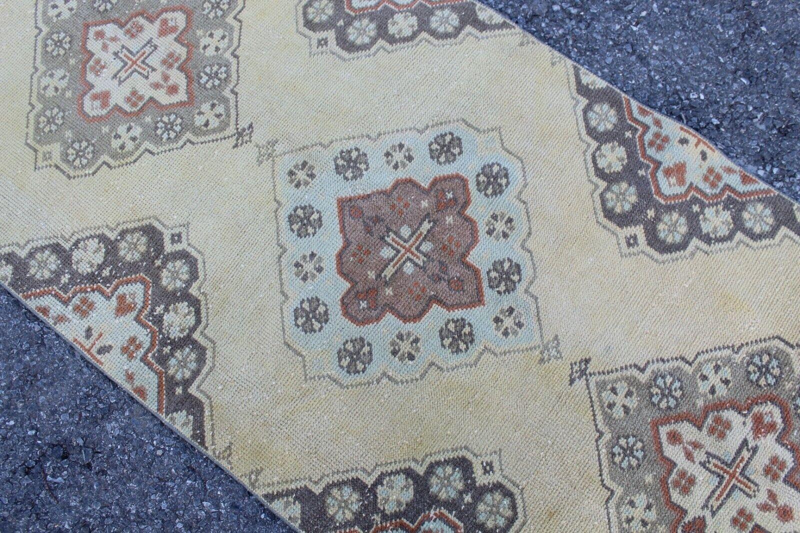 Vintage Handmade Turkish Kitchen Oushak Runner Rug 10'4 10'4 10'4 x2'10  bdb58d