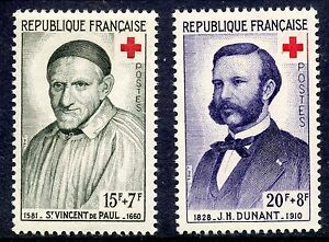 STAMP-TIMBRE-FRANCE-NEUF-N-1187-1188-CROIX-ROUGE-DE-1958