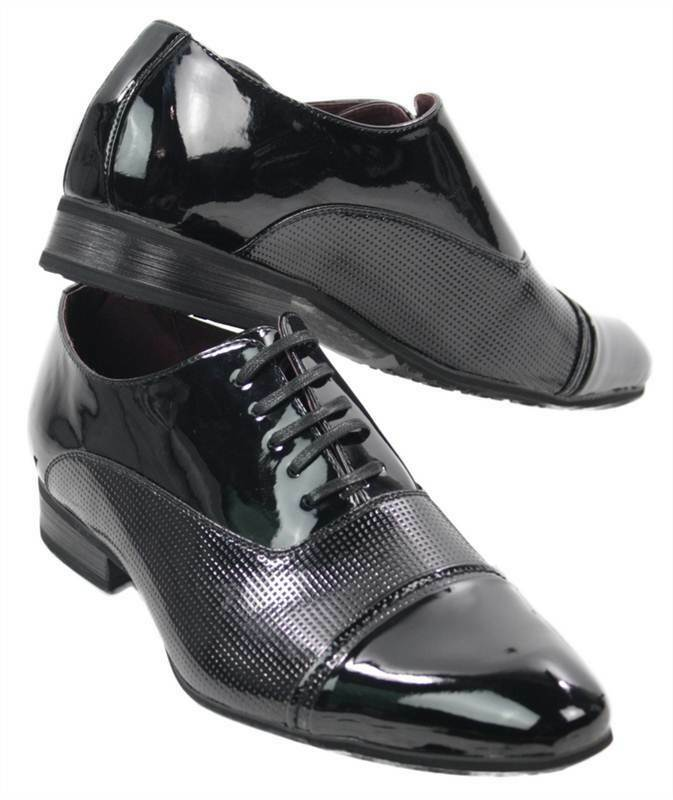 Mens Black Patent Leather Look Shiny Italian Design Pointed shoes Laced Smart Ca