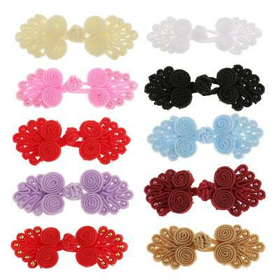 6 pairs yellow Chinese frog knot buttons fasteners closures with beads cheongsam