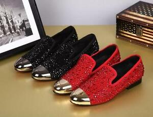 Rivet Mens pointy toe dress formal Suede Leather Rhinestone Loafer Wedding Shoes