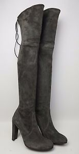 fa4823e6a0c Stuart Weitzman Highland Over the Knee Slate Grey Suede Boots Size ...
