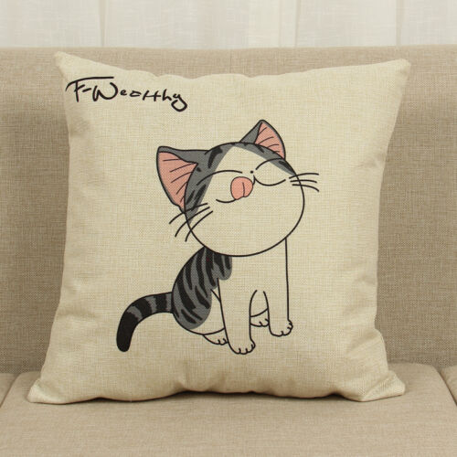 Cute Cartoon Cat Print Square Pillow Cover Sofa Cushion Pillowcase Pillowslip