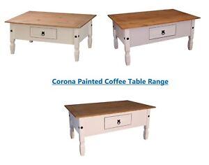 Corona Coffee Table Cream White Grey 1 Drawer Living Room Occasional