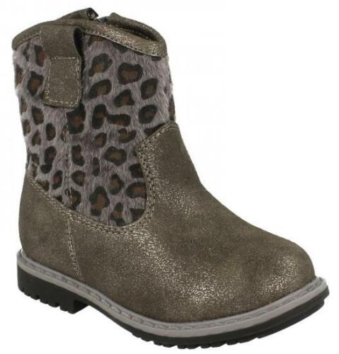 Details about  /Infant Girls Spot on Grey Leopard Print Low Ankle Boots H4110