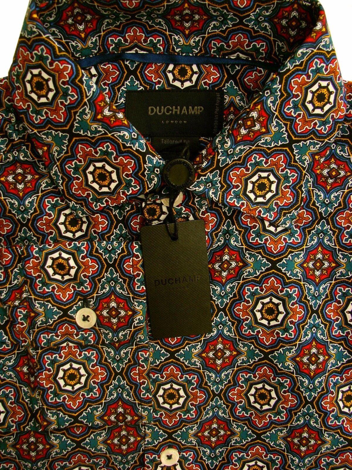 Duchamp London Camicia Da Uomo 14.5 S multi pattern Geometrico NUOVO SU MISURA fit NUOVI con etichetta