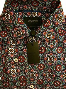 DUCHAMP-LONDON-Shirt-Mens-14-5-S-Multi-Geometric-Pattern-TAILORED-FIT-NEW-BNWT