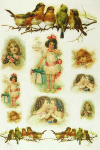 Scrapbooking Sheet Little Girls and Birds Rice Paper for Decoupage