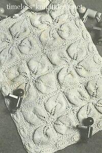 a17f009a5 vintage knitting pattern for baby pram  cot cover   blanket - leaf pattern