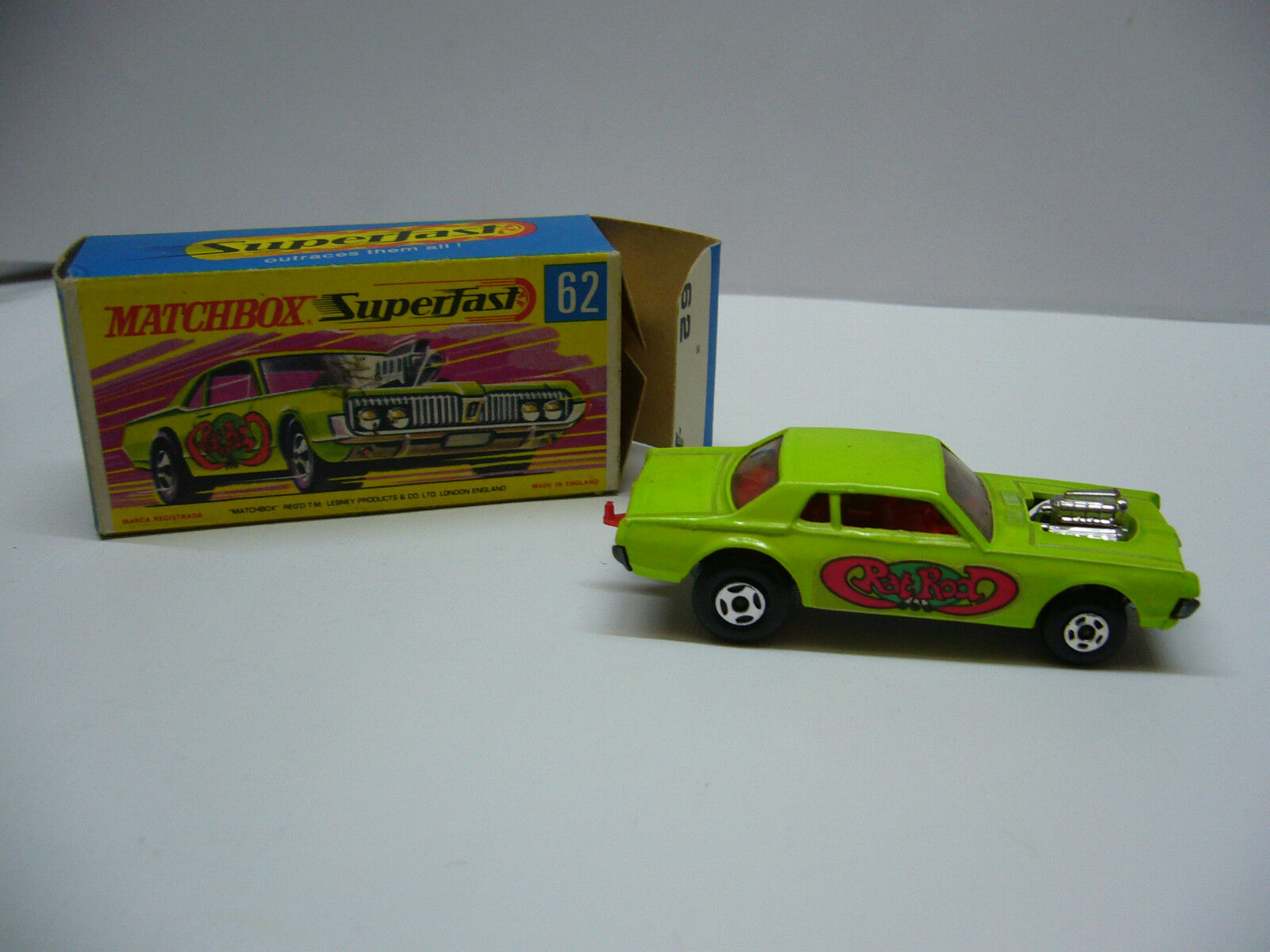 Matchbox  Superfast  MB 62 Pat Rod Dragster - helles yellowgreen  - Made in England