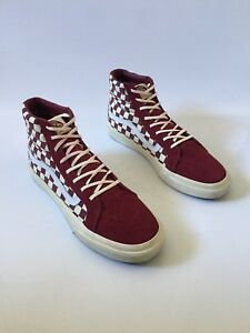 1e74721401ff Image is loading Womens-Vans-Sk8-Hi-Burgundy-White-Suede-Size-