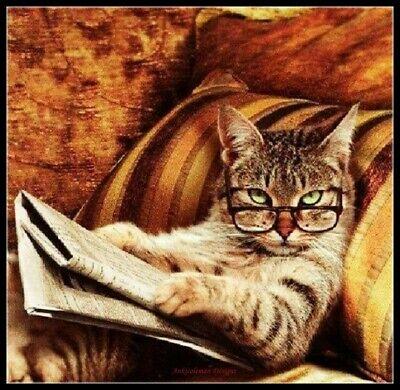 Cat Reading DIY Chart Counted Cross Stitch Patterns Needlework 14 ct Aida DMC