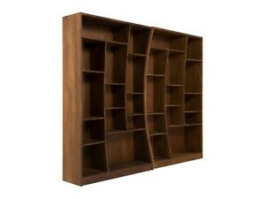 Set Bücherregal Regal Braun Bücherschrank Massiv Holz Akazie Möbel