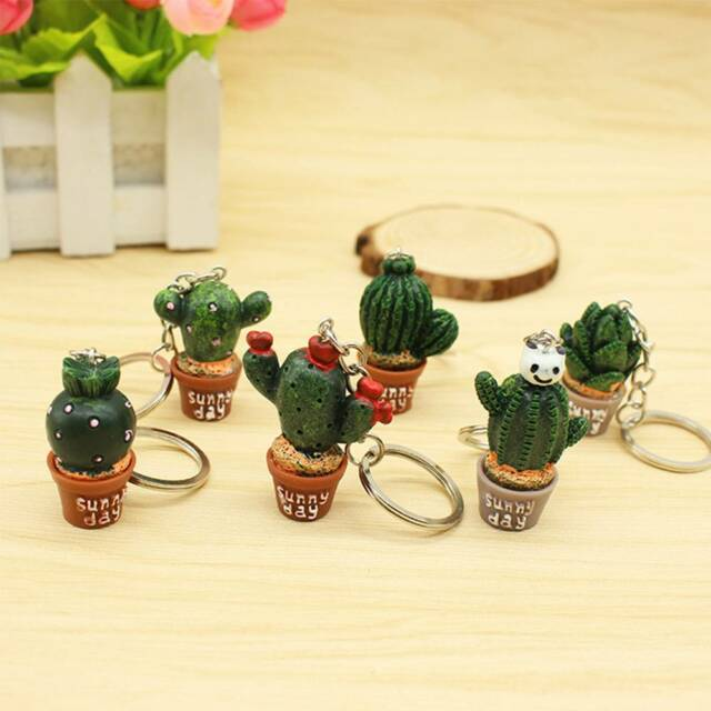 Bag Accessories T Simulation Mini Plant Potted Cactus Resin Key Chain Keyring