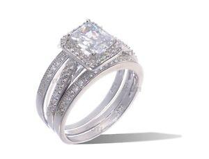 14k Weiss Gold Sterlingsilber Smaragdschliff Cz Verlobung Hochzeit Drei Ring Set Zahlreich In Vielfalt