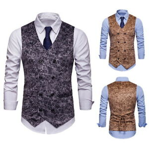 Mens-Suit-Vest-Formal-Business-Wedding-Party-Tuxedo-Waistcoat-Jacket-Coat-Top-h8