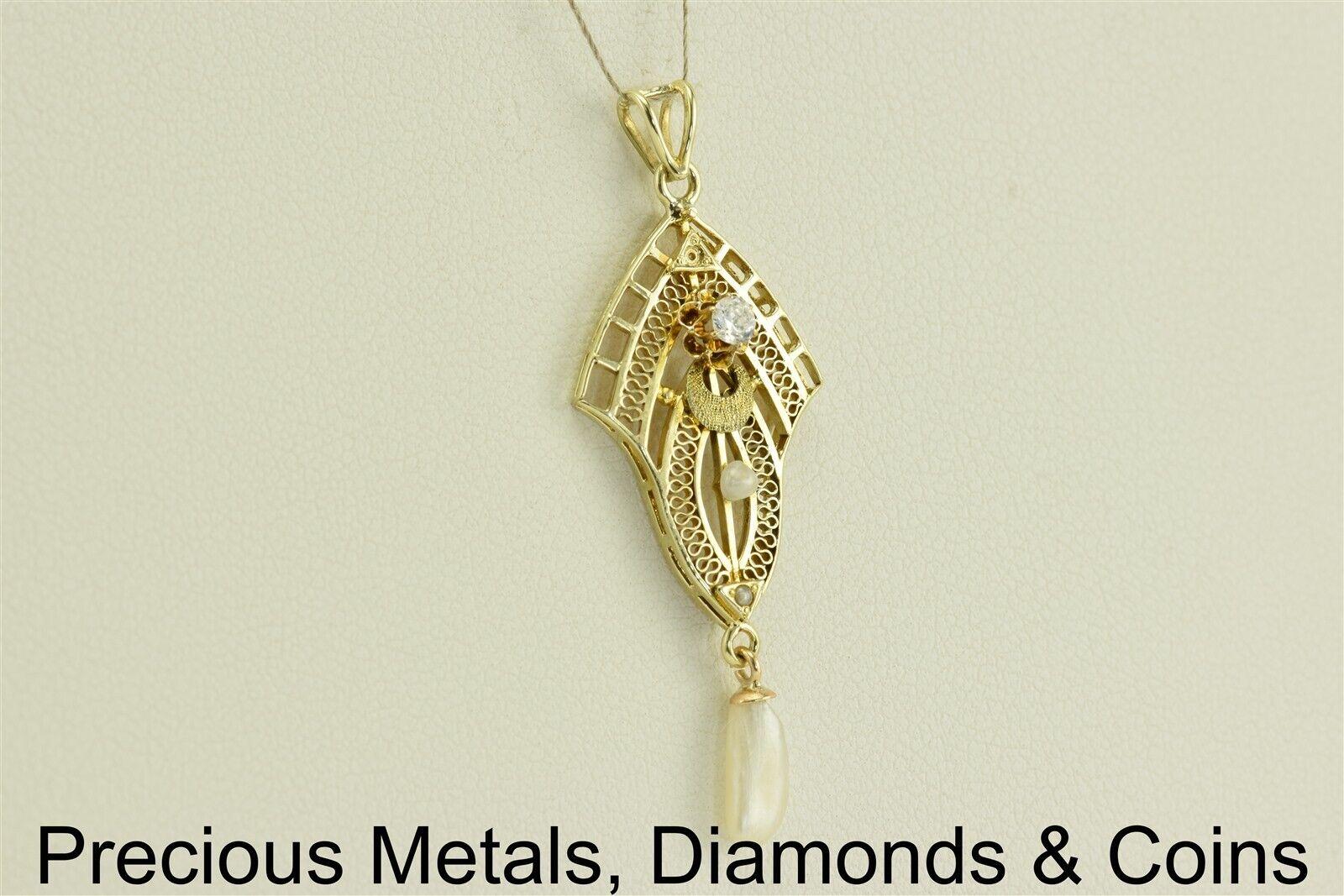Vintage 10k Yellow gold 37mm x 15mm .10ct Diamond Dangling Pearl Pendant