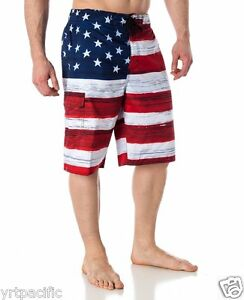 9dffdd0f52 MEN'S USA FLAG SWIM TRUNK BOARD SHORTS OLD GLORY AMERICAN SWIMTRUNK ...