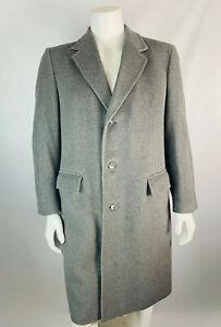 VTG-Black-Diamond-Large-Mens-100-Cashmere-Over-Coat-Trench-Coat-Gray