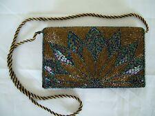 VINTAGE 50s Pesante Perline DECO Envelope clutch shoulder bag