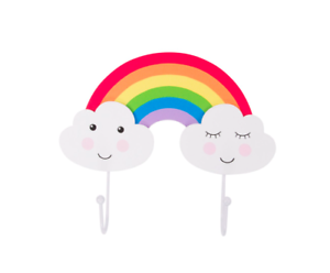 Sass-amp-Belle-Day-Dreams-Happy-Cloud-Rainbow-Double-Wall-Hook-Kids-Bedroom-Decor