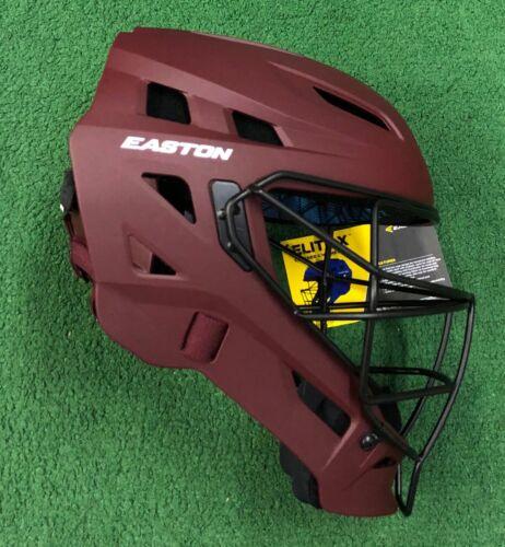 Easton Elite X Adult Baseball Softball Catchers Helmet Maroon