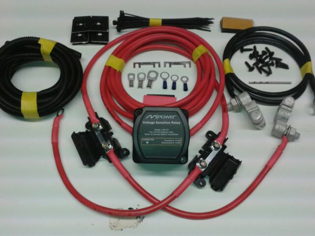 2mtr Split Charge Relay Kit 12V 140amp M-Power VSR System Ready Made Leads
