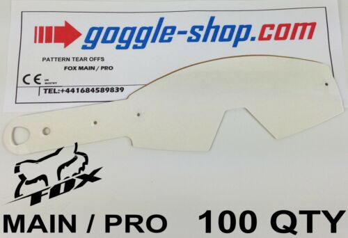 PRO GOGGLES flippers 100 qty GOGGLE-SHOP MOTOCROSS TEAR OFFS to fit FOX MAIN