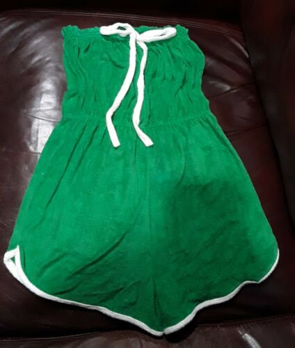 Vintage 1960's Kelly Green Terry Cloth Strapless R