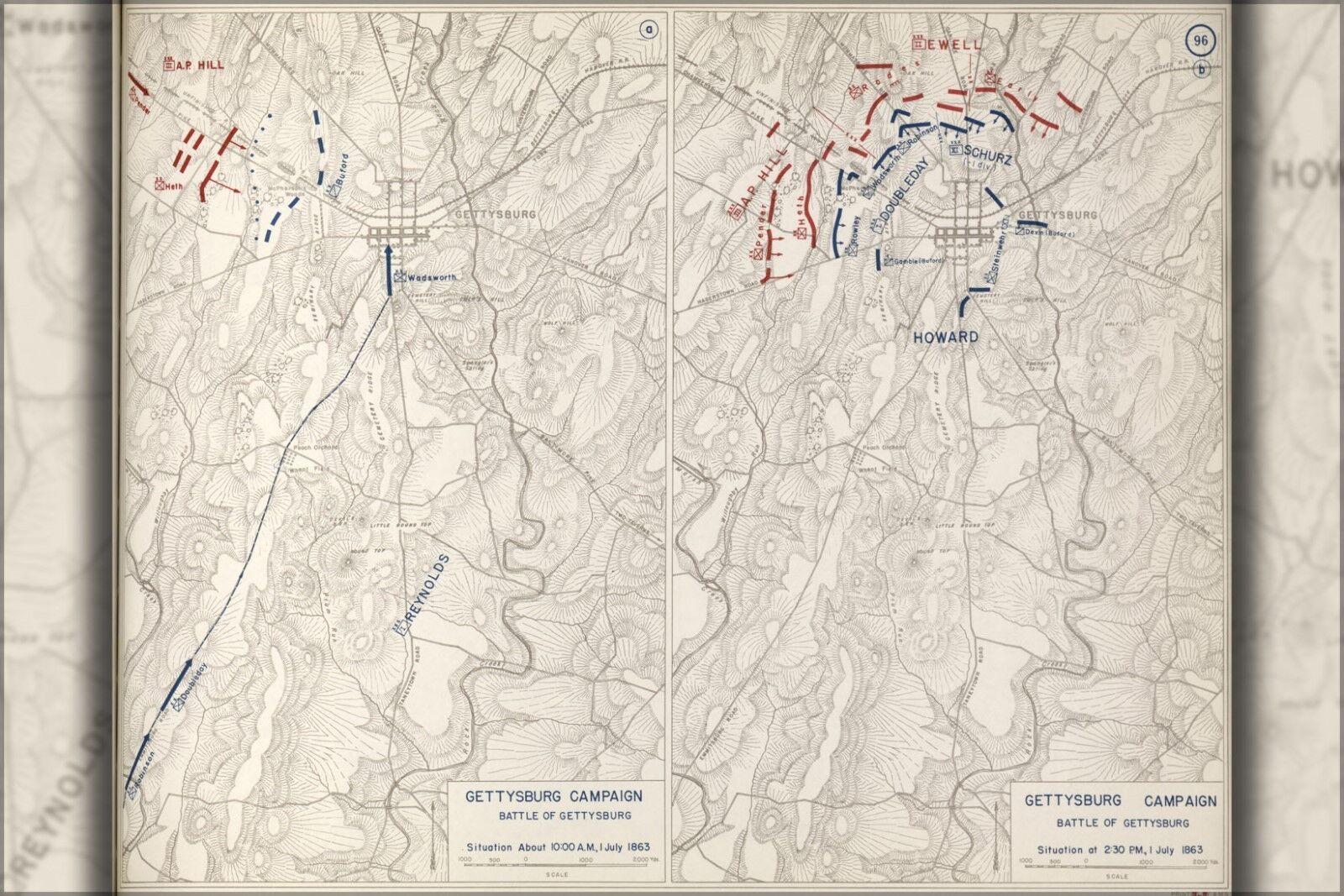 Poster, Molte Misure; Battaglia Mappa Mappa Mappa Del Gettysburg Campagnia, 1863 P1 aaf3da