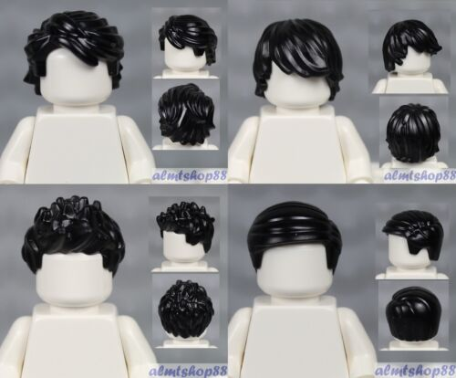 4x Male Hair Lot Black Short Tousled Side Part Spiked Boy Wig Head LEGO