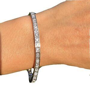 14K-or-Blanc-3ctw-G-H-Diamant-Droit-Ligne-Vintage-Bracelet-Certifie