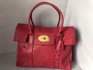 45a18fab7f2c Image is loading Beautiful-Mulberry-Hot-Pink-Ostrich-Leather-Bayswater -Brand-
