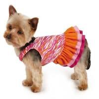 Xxsmall Ruffle Dog Dress Bright Colors Pink And Orange Zebra Print Pattern
