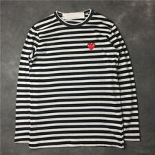 283b97af6a STRIPED MEN'S WOMEN COMME DES GARCONS CDG PLAY RED HEART LONG SLEEVE T-SHIRT
