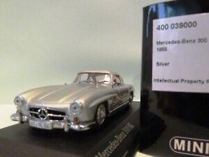 Wow extrêmement rare Mercedes W198 300sl Gullwing Ht 1955 Silver 1:43 Minichamps 4012138070820