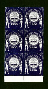US-Stamps-NH-Year-1930-Boston-Label-Block-of-6