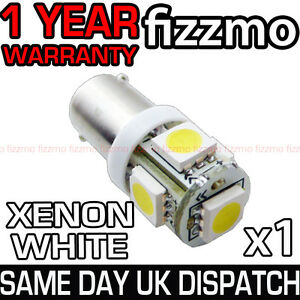 5 SMD LED 233 BA9S T4W CAP BAYONET 360 HID BRIGHT WHITE SIDE LIGHT BULB FREE P&P