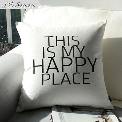 45x45cm THIS IS MY HAPPY PLACE Black White Throw Cotton Canvas Cushion Cover