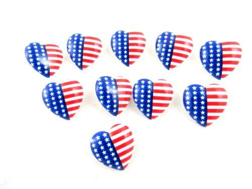 23 mm USA Coeur Boutons à Tige-Star Spangled Banner Coeur Boutons
