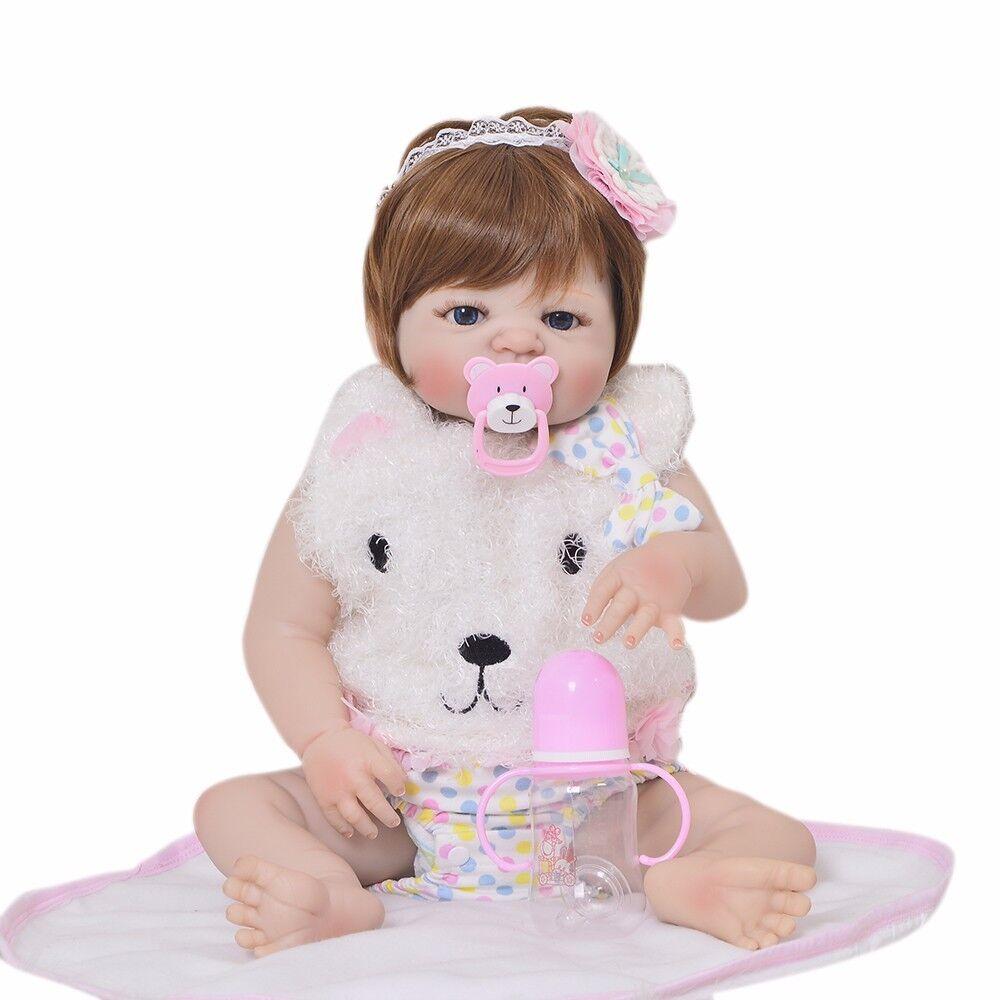 23 pulgadas muñecas reborn niña de vinilo COMPLETO de silicona realista aspecto real hecho a mano del niño