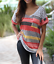 Womens-Summer-Short-Sleeve-T-shirt-Loose-Irregular-Striped-V-Neck-Tops-Plus-Size thumbnail 11