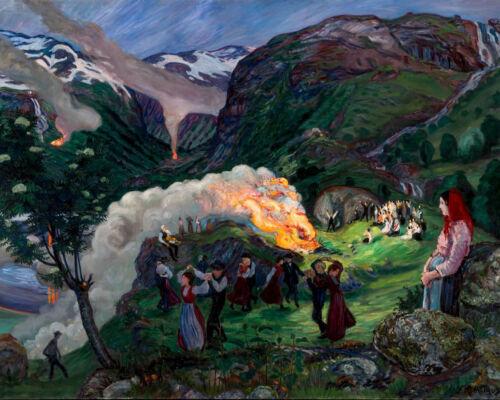 Celebration Men Women 8x10 Print 1468 Midsummer Eve Bonfire by Nikolai Astrup